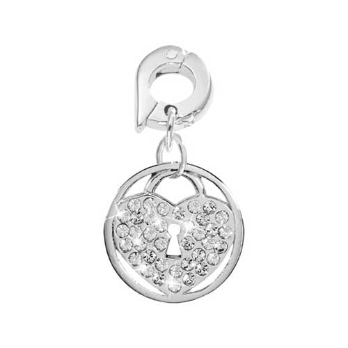Nikki Lissoni Spark Lock Silver Plated 15mm Charm/Pendant
