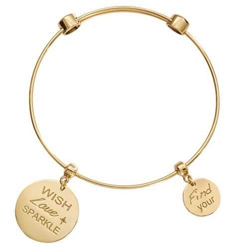 Nikki Lisson Wish Love Sparkle Gold Plated Bangle 21cm