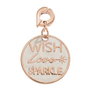 Nikki Lissoni Wish Love Sparkle Rose Gold Plated 20mm Charm/Pendant