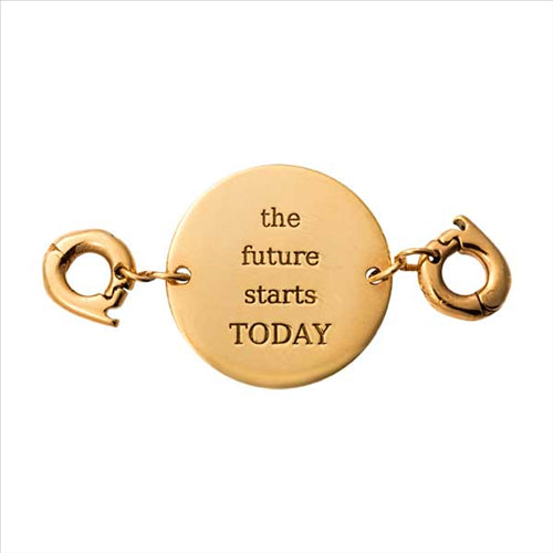 Nikki Lissoni Future Starts Today Gold Plated Two Lock Tag
