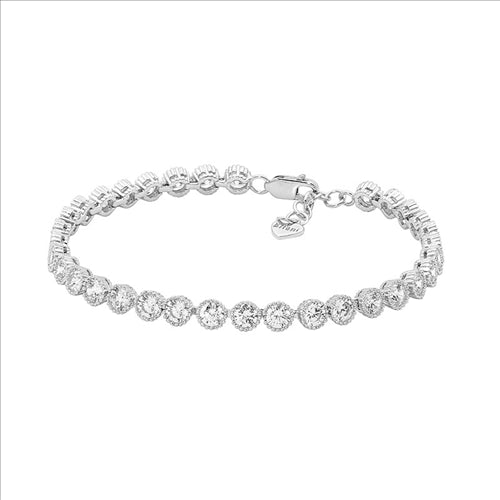 Ellani Sterling Silver 4mm Crown Set Cz Tenis Bracelet