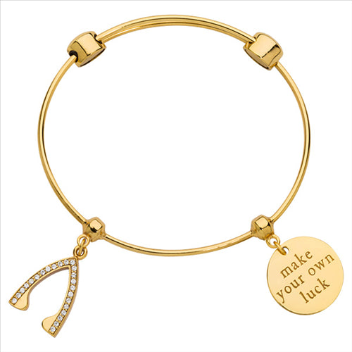 Nikki Lissoni Wish Bone Bangle Gold Plated 21cm