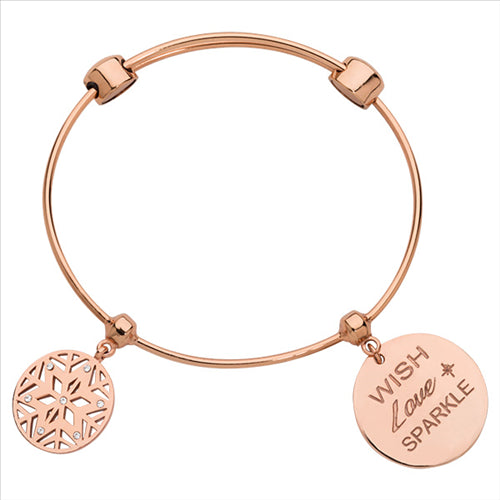 Nikki Lissoni Snowflake Bangle Rose Gold Plated 21cm
