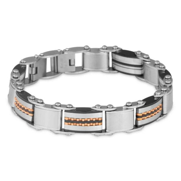 Mens Stainless Steel Two Tone Bracelet Double Sided 2 Tone 20cm
