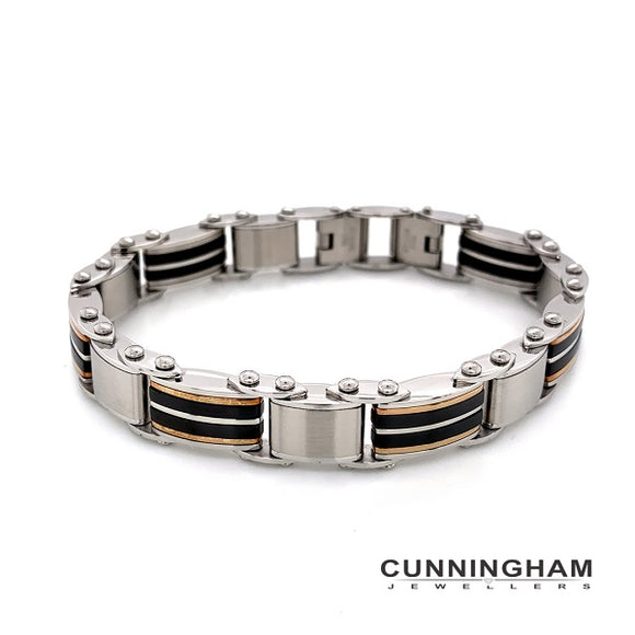 Mens Stainles Steel Double Side Bracelet 20cm