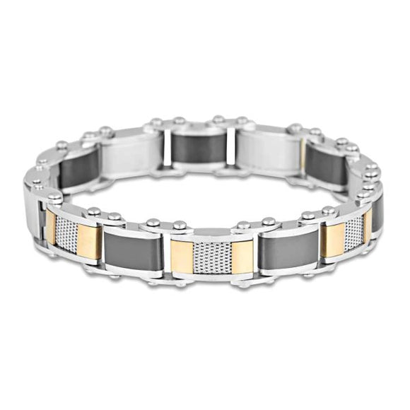 Mens Stainless Steel Double Sided Bracelet 20cm