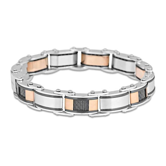 Mens Stainless Steel Bracelet Double Sided 20cm