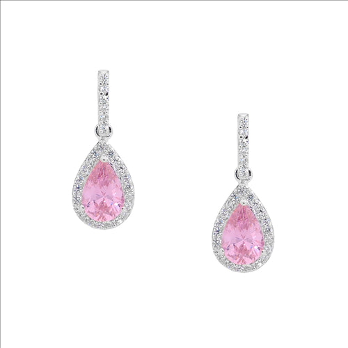 Ellani Sterling Silver Pink CZ Pear Cluster Drops