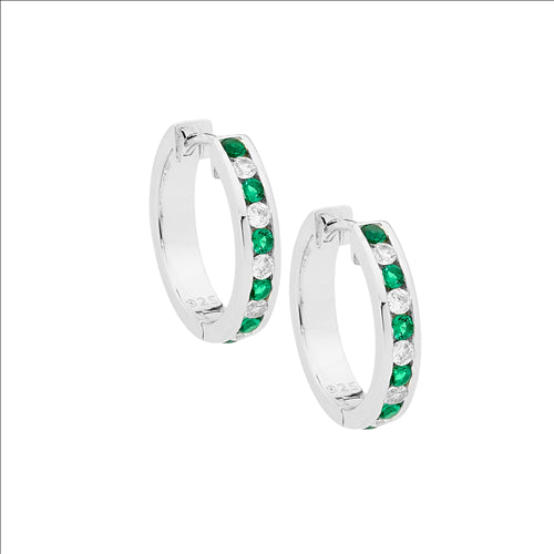 Ellani Sterling Silver Green and White Huggies
