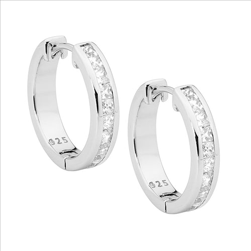 Ellani Sterling Silver Channel Set CZ Huggie Hoops