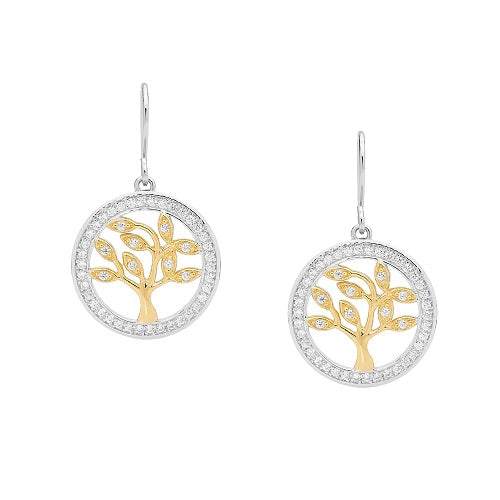 Ellani Sterling Silver Tree Of Life CZ Gold Plated Drop Earings