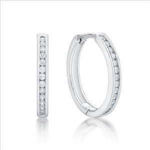 Sterling Silver Round CZ Set 2.5X19mm Huggie Earings