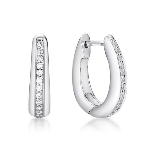Sterling Silver CZ Set Tapered Oval Huggie Earings 4X16mm