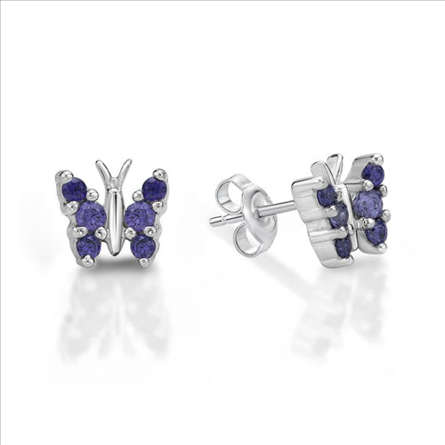 Sterling Silver Purple CZ Butterfliy Studs