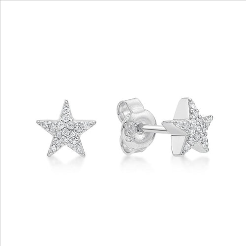 Sterling Silver CZ Star Stud Earings