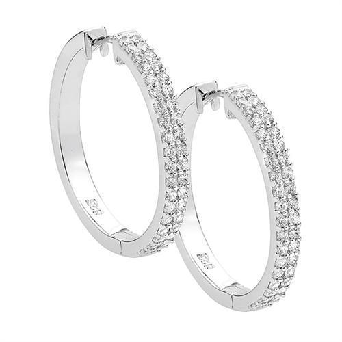 Ellani Sterling Silver CZ 27mm Huggie Hoops