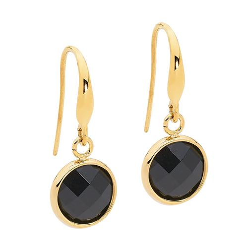 Ellani Stainless Steel Gold Plate Black Glass Drop Earings