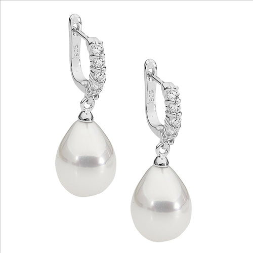 Ellani Sterling Silver Cubic Zirconia And Imiation Pearl Drop Earings