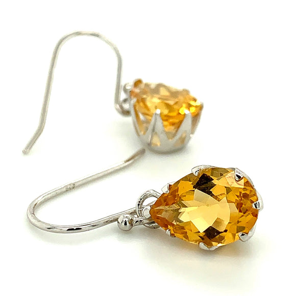 Sterling Silver Natural Citrine Drop Earings