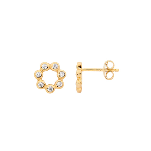 Ellani Sterling Silver CZ Open Circle Gold Plate Stud Earings