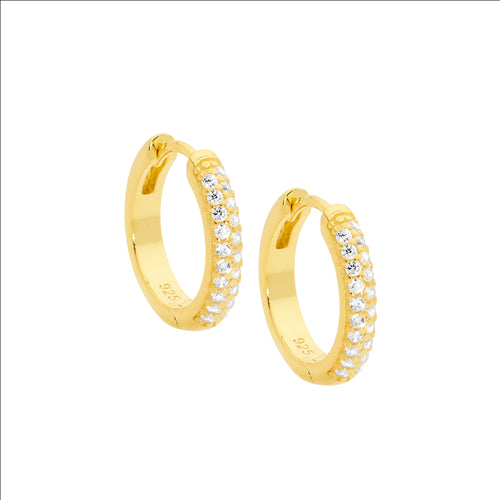 Ellani Sterling Silver Cz Pave 16mm Gold Plate Hoops