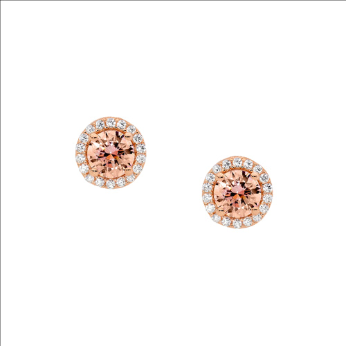 Ellani Sterling Silver Morganite Cz Cluster Rose Gold Plate Stud Earings