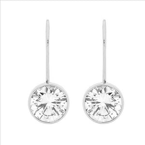 Ellani Stainless Steel Round CZ Drop Earings