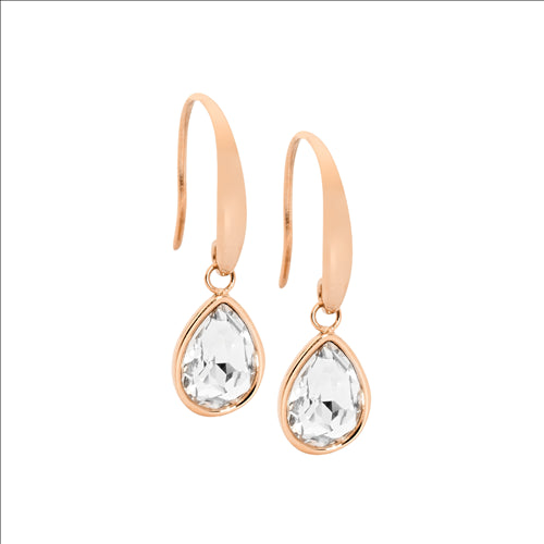 Ellani Stainless Steel White Glass Drop Earings Rose Gold IP Plated