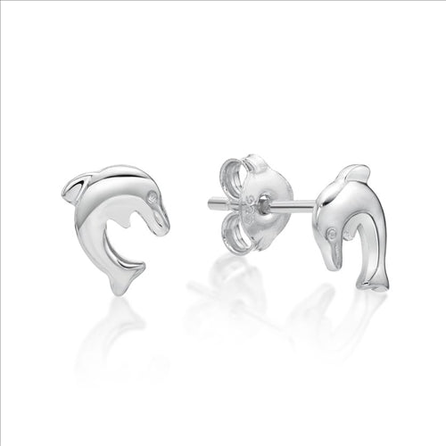 Sterling Silver Diving Dolphin Stud Earings