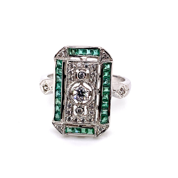 Sterling Silver Natural Emerald And Cz Ring Art Deco