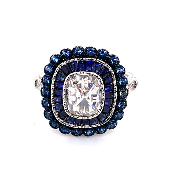 Sterling Silver Natural Sapphire And CZ Ring