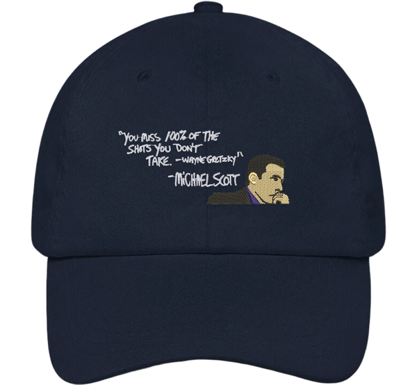 Michael Scott You Miss 100% of the Shots Dad Hat - The Office Hats - HatHub