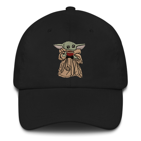 Baby Yoda Sipping Soup Dad Hat