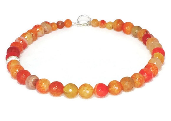 Orange Agate Gemstone Necklace