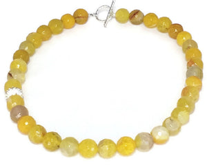 Yellow Agate Gemstone Necklace, Agate Jewelry