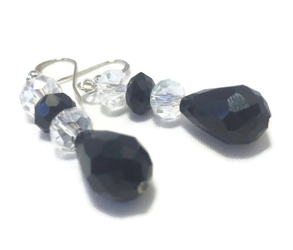 Clear Black Crystal Sterling Silver  Earrings, Bridal Wedding Jewelry