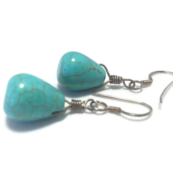 Blue Turquoise Earrings Women Wedding Bridal Jewelry