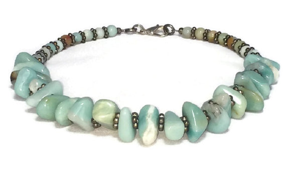Blue Amazonite Gemstone Necklace, Amazonite Jewelry