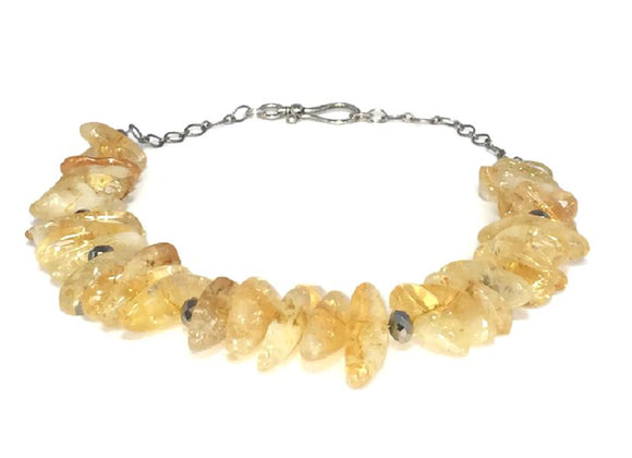 Yellow Citrine Gemstone Cluster Statement Necklace
