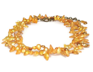 Yellow Pearl Long Necklace