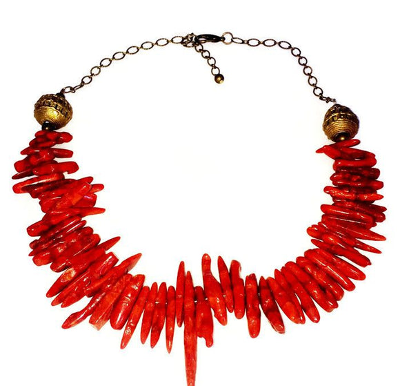 Red Coral Clustered Brass Chain Necklace