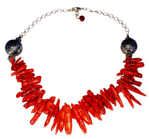 Red Coral Clustered Silver Chain Necklace