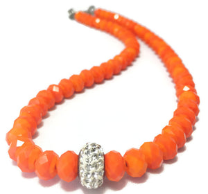 Handmade Orange Crystal Necklace for Women with Shiny Rhinestone Accent