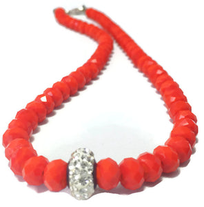 Handmade Red Orange Crystal Necklace for Women with Shiny Rhinestone Accent