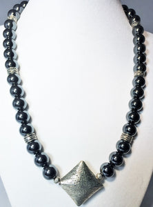 Hematite Silver Focal Pendant Necklace