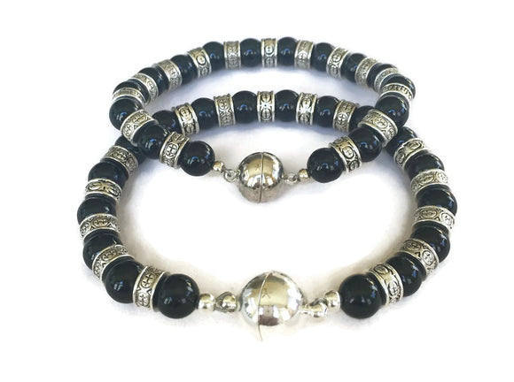 Black Stone Bracelet for Him Her