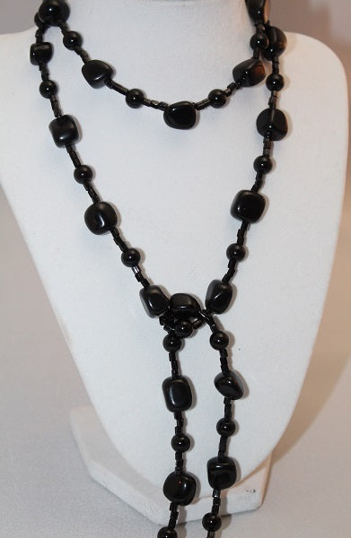 Long Blackstone Lariat Necklace