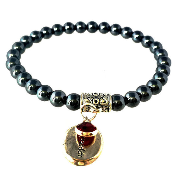 Garnet January Birthstone Charm Bracelet