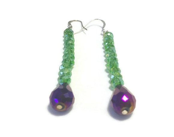 Long Purple Green Crystal Sterling Silver Earrings, Bridal Wedding Jewelry