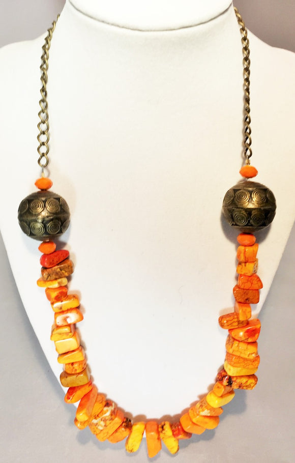 Orange Multi-Color Gemstone Chain Necklace